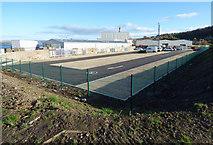 NS3274 : New car park at Ferguson Marine shipyard by Thomas Nugent