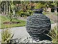 NX0942 : Slate urn by Rory Gould, Logan Botanic Garden by Humphrey Bolton