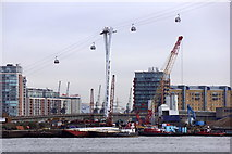 TQ3980 : The Emirates Air Line cable car at Docklands by Mike Pennington