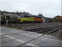 SX9193 : Freight train at Red Cow level crossing, Exeter by David Smith