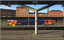 SK3635 : A single-carriage train drawing into Derby station by Robin Stott