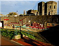 ST3188 : Industrial heritage mural on a wall of the Old Green Interchange, Newport by Jaggery