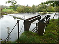 NS4323 : Penstock above a weir on the River Ayr by Humphrey Bolton