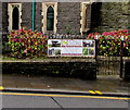 SS9079 : Archaeology Cymru Media banner on Station Hill railings, Bridgend by Jaggery