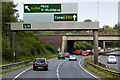 SJ2966 : Overhead Sign Gantry on the A494 by David Dixon