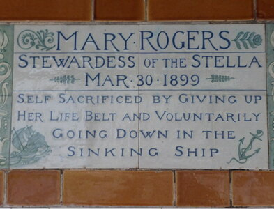TQ3281 : Memorial to Mary Rogers in Postman's Park by Marathon
