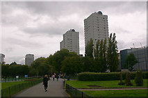 TQ2574 : Tower blocks in Neville Gill Close, SW18 by David Kemp