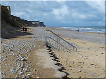 TG2142 : The end of the promenade on Cromer beach by Mat Fascione