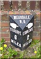 NY9038 : Old Milepost by the A689, Front Street, Westgate by C Minto & IA Davison