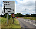 ST6783 : Bristol and Thornbury directions sign, Iron Acton by Jaggery