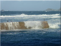SW3526 : The tip of the breakwater at Sennen Cove taking a battering from heavy seas by Rod Allday