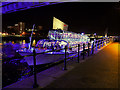 SJ8097 : Illuminated Boat at Salford Quays Central Wharf by David Dixon