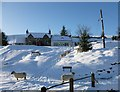 NS8712 : Snow and sheep in Wanlockhead by Alan O'Dowd