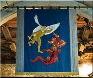 SJ9995 : The St Michael banner in Mottram Church by Gerald England