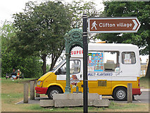ST5673 : Ice cream van and drinking fountain by Stephen Craven