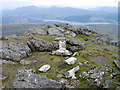 NM7665 : Remains of trig point on Ben Resipol by Trevor Littlewood