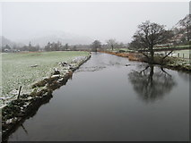 NY3915 : Tree reflection in the river at Patterdale by Peter S