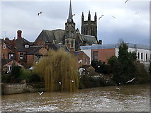 SP3265 : All Saints Church across the River Leam, Leamington by Rudi Winter