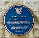 SK0394 : Lowestoft to Glossop evacuation plaque by Gerald England