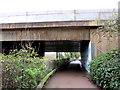 ST1783 : Motorway bridge over Parc Cefn Onn, Lisvane, Cardiff by Jaggery