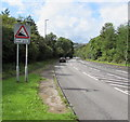 ST2298 : Warning sign - steep descent from Hafodyrynys to Crumlin by Jaggery