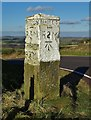 SK2794 : Old stone milepost east of Swanheight by Neil Theasby