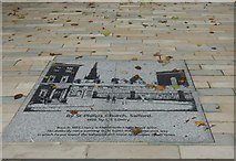 SJ8298 : St Philip's by Lowry: pavement art by Gerald England