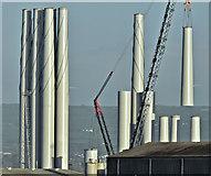J3677 : Wind turbine masts, Belfast harbour - February 2018(1) by Albert Bridge