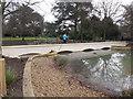 TQ1979 : Gunneresbury Park Horseshoe Pond bridge by David Hawgood