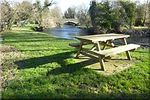 SO3958 : Picnic site beside the River Arrow by Philip Halling