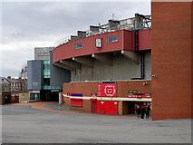 SJ8096 : Old Trafford, The Munich Tunnel and Memorial Clock by David Dixon