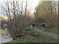 SE3231 : Cyclists on the Transpennine Trail at Thwaite Mills  by Stephen Craven