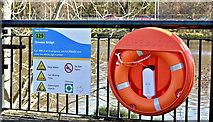 J3472 : Water safety sign, Ormeau Bridge, Belfast - February 2018(1) by Albert Bridge