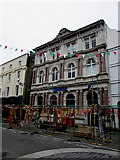SS9079 : Barclays Bank Bridgend behind temporary fencing by Jaggery