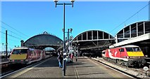 NZ2463 : Going and coming at Newcastle Central station, east end by Chris Morgan