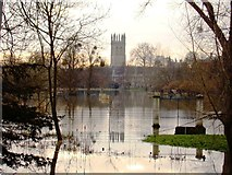 SP5206 : Magdalen College Tower and Water Meadow by Ibn Musa