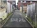 SJ8646 : Spray-painted injunction on an alleyway in Basford by Jonathan Hutchins