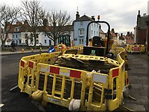 NT9953 : Yellow Barriers in Church Street Berwick by Jennifer Petrie