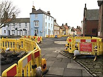 NT9953 : Yellow Barriers for Northern Gas Networks in Berwick by Jennifer Petrie