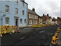 NT9953 : Houses and Yellow Barriers in Church Street Berwick by Jennifer Petrie