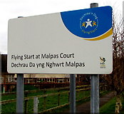 ST3091 : Flying Start at Malpas Court name sign, Newport by Jaggery