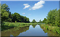 SJ9822 : Approaching Tixall Wide in Staffordshire by Roger  Kidd