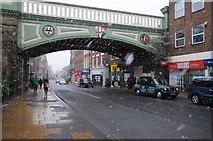 SO8455 : Foregate Street Railway Bridge in snow by Philip Halling