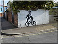 ST5771 : Cycling pirate at Mount Pleasant Terrace by Eirian Evans