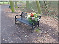 TQ4677 : A touching message on a bench in Bostall Woods by Marathon