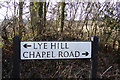 TL1521 : Lye Hill & Chapel road signs by Geographer