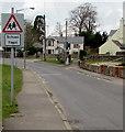 ST4988 : Warning sign - School/Ysgol, Main Road, Portskewett by Jaggery