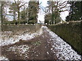 ST2987 : Snowy exit path from St Woolos Cemetery, Newport by Jaggery