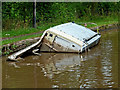 SP3196 : Sunken boat in the canal near Mancetter, Warwickshire by Roger  Kidd