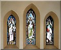 SJ9497 : Stained glass in Dukinfield Old Chapel by Gerald England